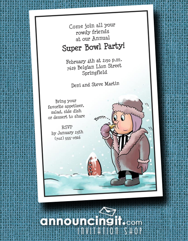 Frozen Referee Super Bowl Party Invitations from Announcingit.com