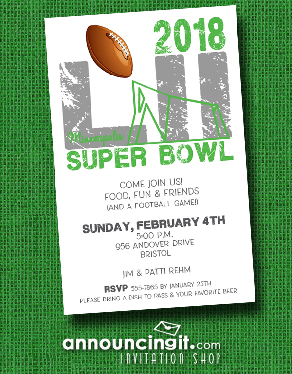 Super Bowl 52 Minneapolis Party Invitations at Announcingit.com