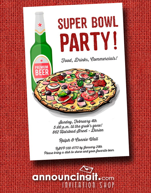 Pizza and Beer Super Bowl Party Invitations at Announcingit.com