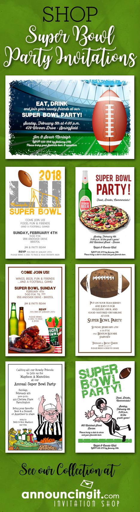 Shop Super Bowl Party Invitations at Announcingit.com