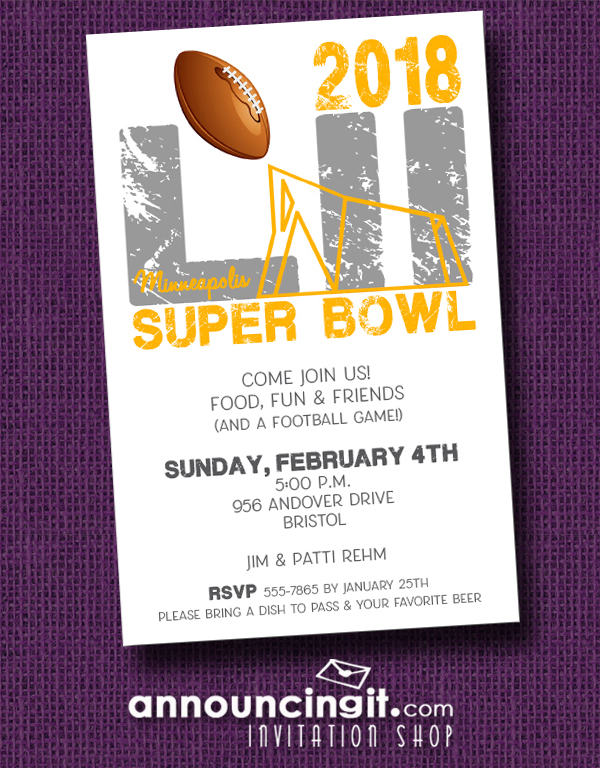 Minneapolis Super Bowl 52 Party Invitations at Announcingit.com
