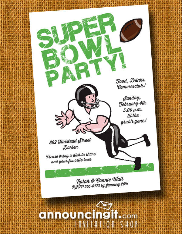 Wide Receiver Super Bowl Party Invitations at Announcingit.com