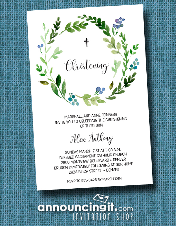 Blue Buds Wreath Baby Boy Christening Invitations at Announcingit.com