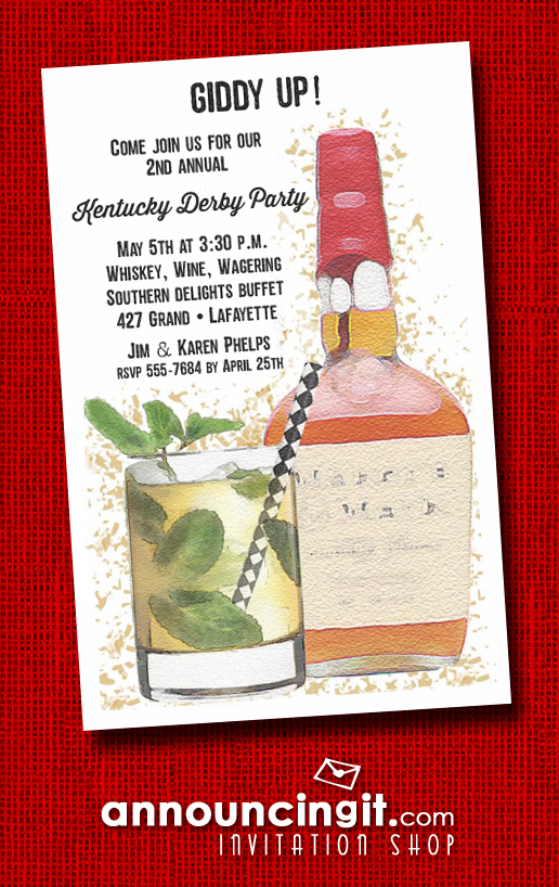 Bourbon Bottle and Mint Julep Kentucky Derby Party Invitations | See the entire collection at Announcingit.com