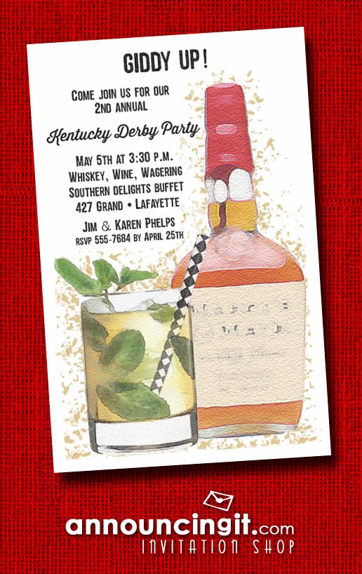 bourbon mint julep kentucky derby party invitations