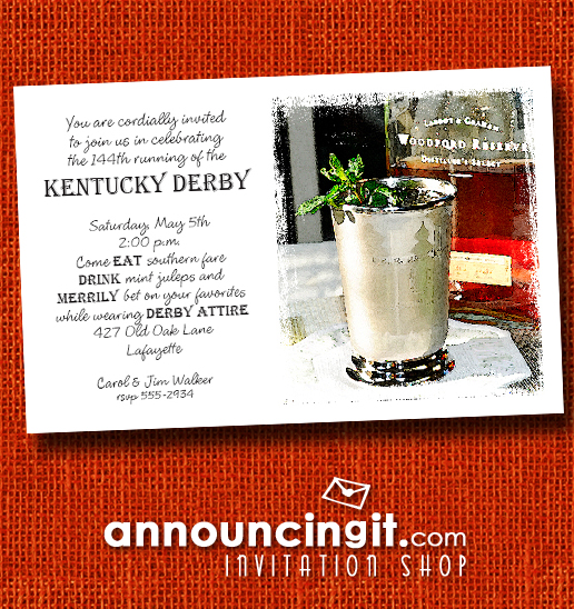 Bourbon Mint Juleps Kentucky Derby Party Invitations | See the entire collection at Announcingit.com