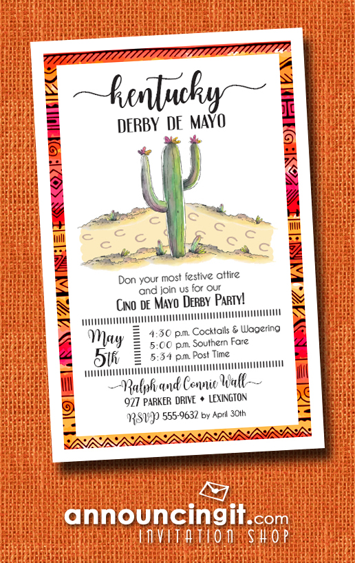 Cactus Kentucky Derby Cinco de Mayo Party Invitations | See our entire collection at Announcingit.com