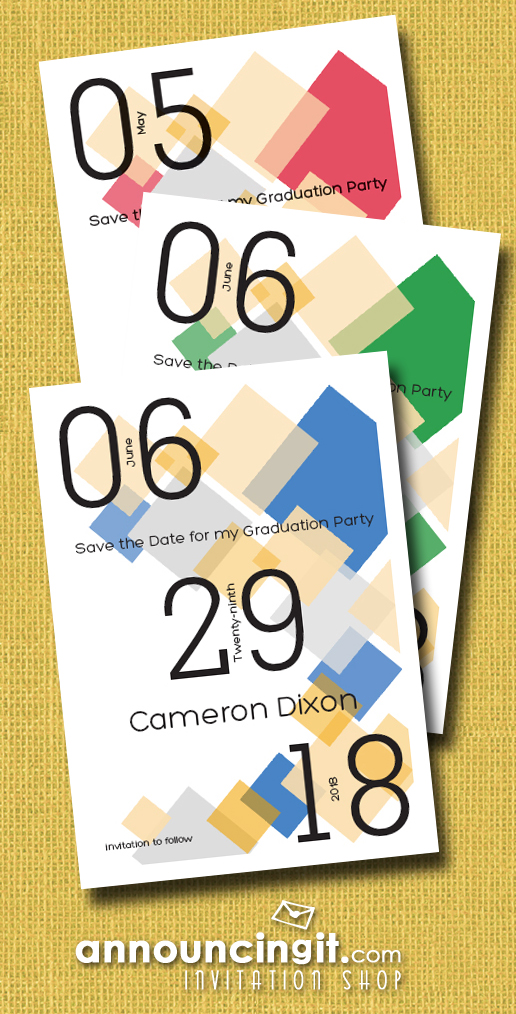 Diamond Blocks Graduation Party Save the Date Cards - available in several colors | See the entire graduation invitations and announcement collection at Announcingit.com