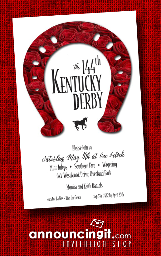 Rose Covered Horse Shoe Kentucky Derby Party Invitations from Announcingit.com