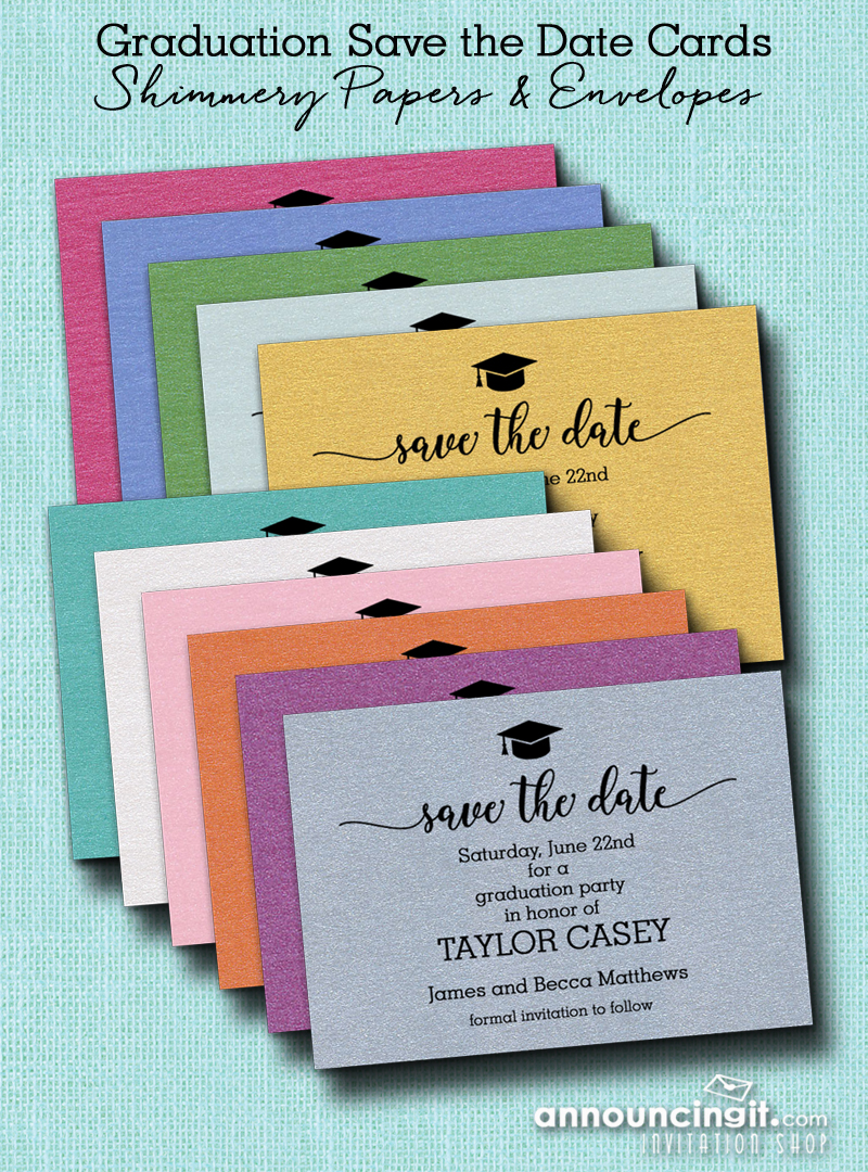 Shimmery Graduation Hat Save the Date Cards from Announcingit.com