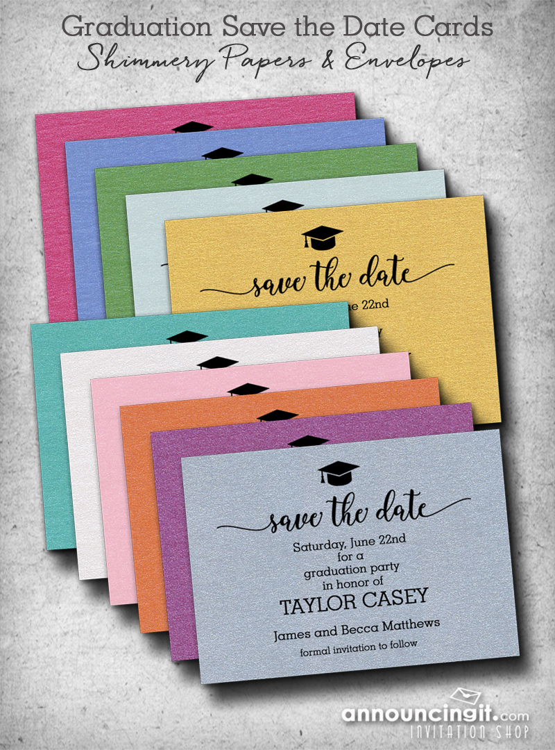 Shimmery Graduation Hat Save the Date Cards | Announcingit.com