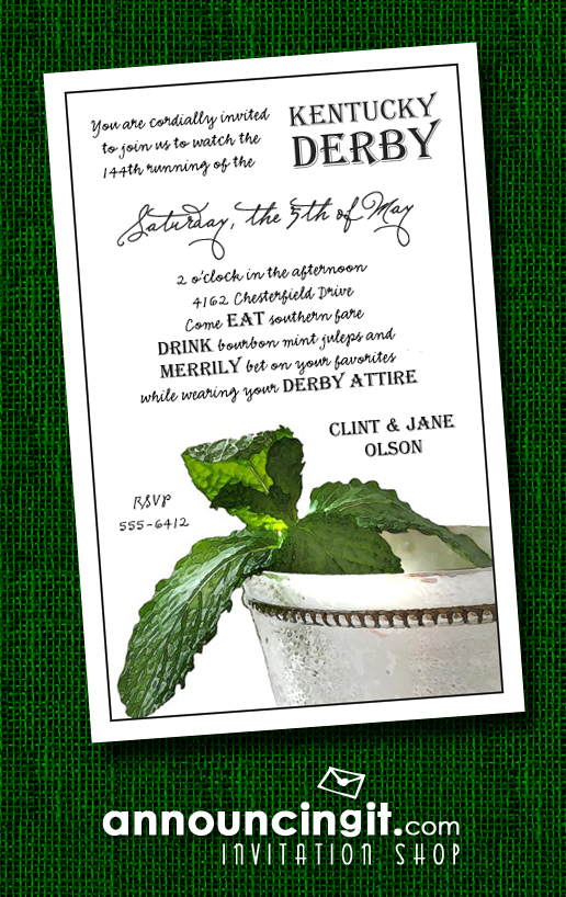 Silver Mint Julep Cup Kentucky Derby Party Invitations | See the entire collection at Announcingit.com