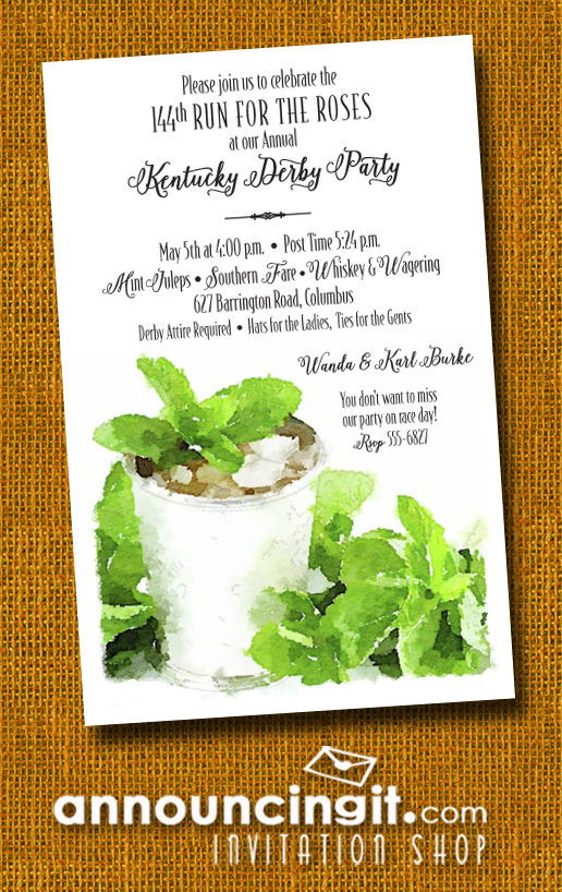 Sprigged Mint Juleps Kentucky Derby Party Invitations | See the entire collection at Announcingit.com