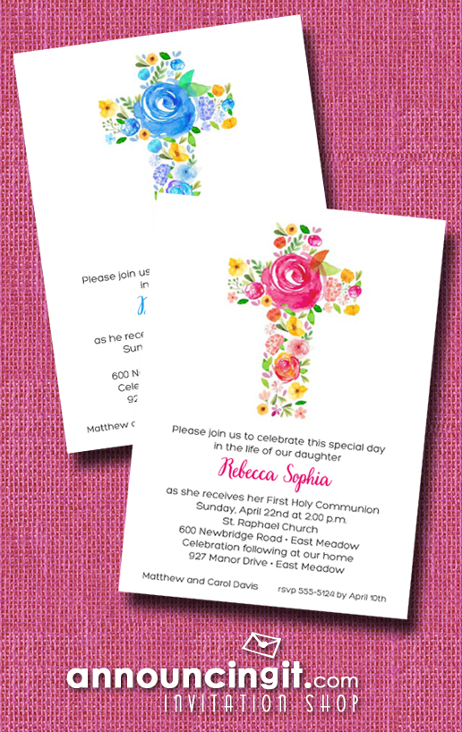 Cross of Flowers in Pink or Blue First Communion Invitations | See our entire collection at Announcingit.com
