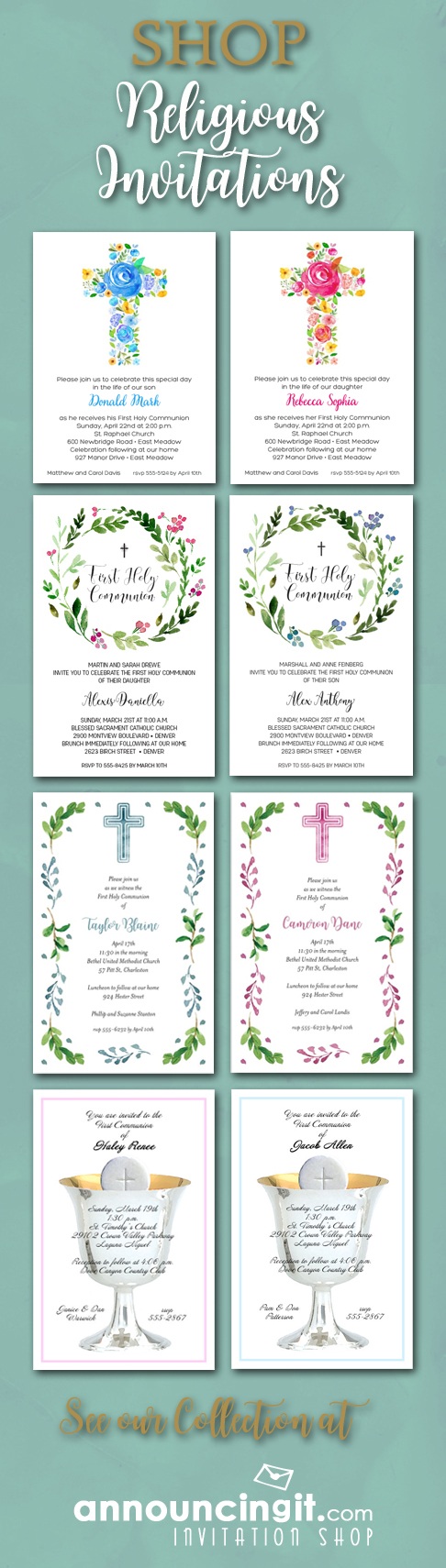 Shop Religious First Communion, Baptism, Christening Celebration Invitations at Announcingit.com Invitation Shop