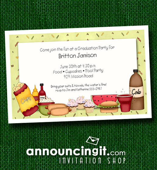 Barbecue Fixings Graduation Party Invitations at Announcingit.com