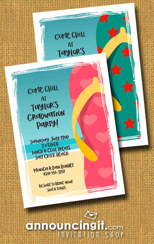 Flip Flops on the Beach Graduation Party Invitations at Announcingit.com