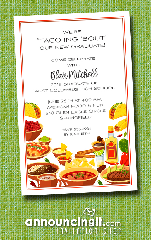 Mexican Fiesta Buffet Graduation Party Invitations at Announcingit.com