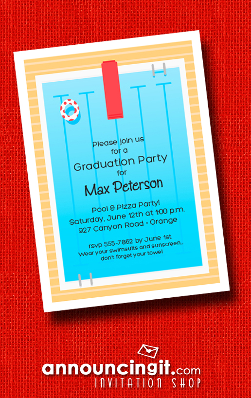 Swimming Pool Deck Graduation Party Invitations at Announcingit.com