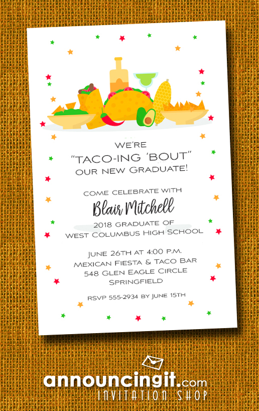 Taco Bar Graduation Party Invitations at Announcingit.com