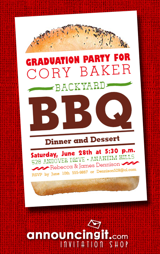 Billboard Hamburger Graduation Party Invitations at Announcingit.com