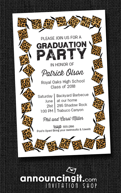 Cheetah Cap with Black Tassel Graduation Party Invitations or Announcements at Announcingit.com