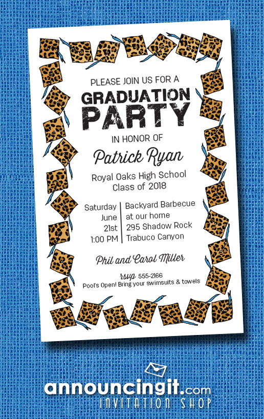 Cheetah Cap with Blue Tassel Graduation Party Invitations or Announcements at Announcingit.com