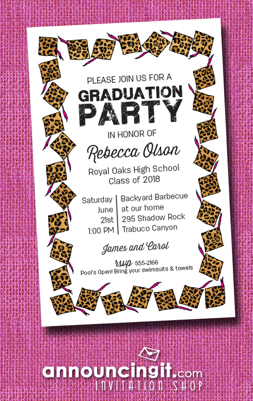Cheetah Cap with Pink Tassel Graduation Party Invitations or Announcements at Announcingit.com