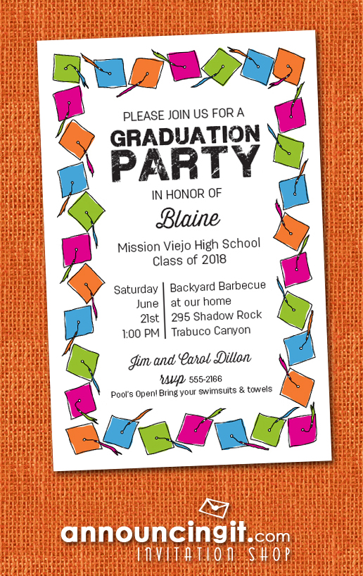 Colorful Grad Caps Graduation Party Invitations or Announcements at Announcingit.com