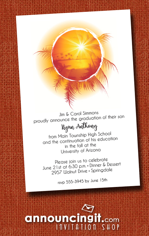 Tropical Sunset on Water Graduation Party Invitations at Announcingit.com
