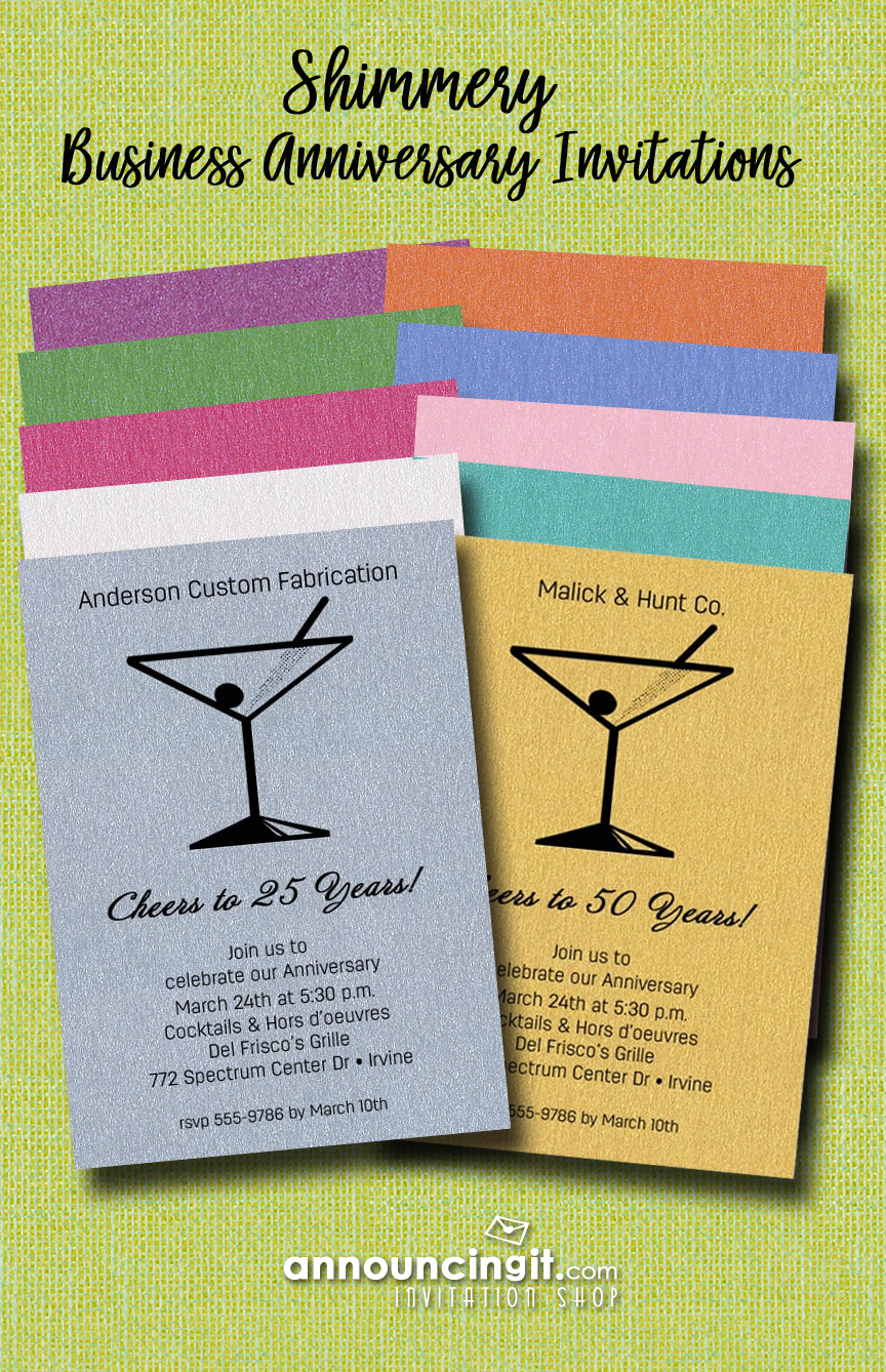 Martini Glass on Shimmery Paper Business Party Invitations at Announcingit.com