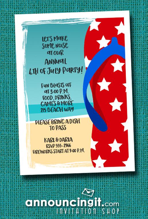 Patriotic Stars Flip Flops Beach Party Invitations at Announcingit.com