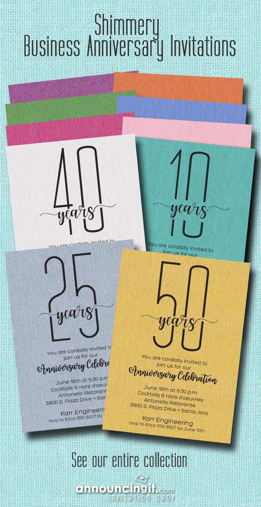 Business Anniversary Party Invitations on Shimmery Papers at Announcingit.com