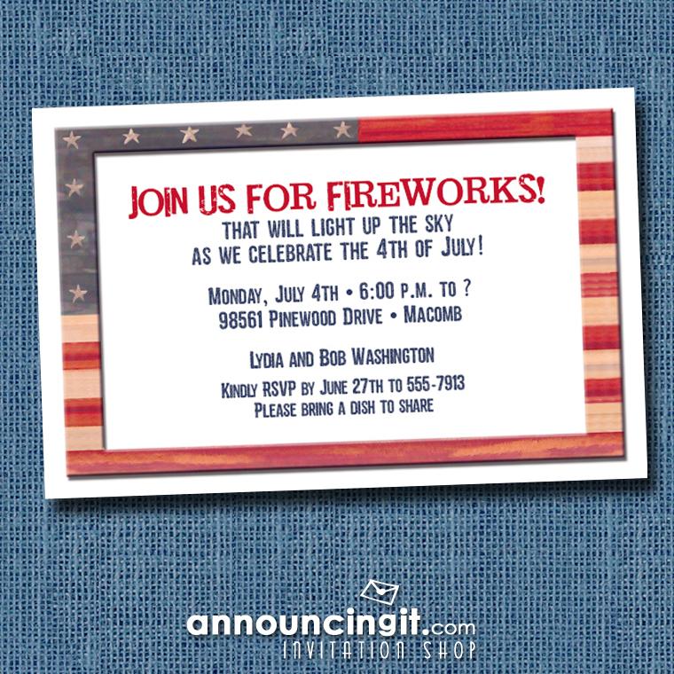 Weathered Flag Patriotic Party Invitations at Announcingit.com