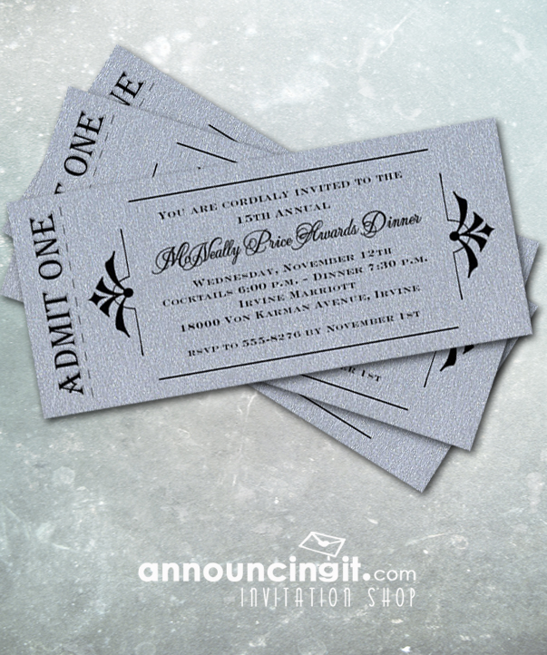 Admit One Shimmery Silver Ticket Invitations