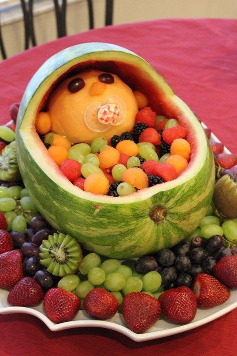Baby in a Basket Watermelon Fruit Bowl for a Baby Shower