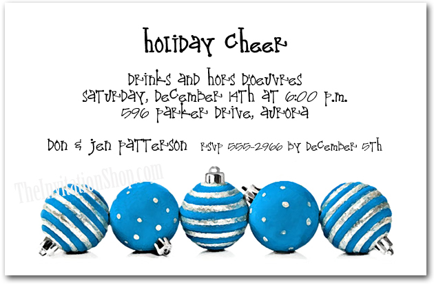Silver & Blue Ornaments Holiday Party Invitations
