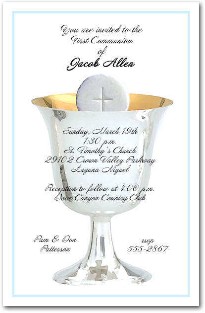 Blue Border Silver Chalice and Host Boys First Communion Invitations