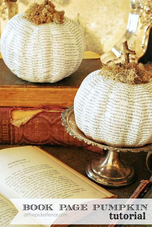Book Page White Autumn Pumpkins