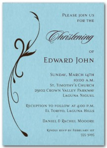 Flourish on Blue Boy Christening Invitation