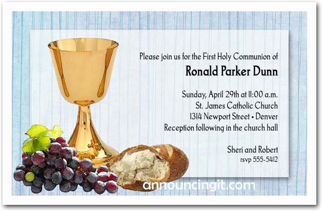 Chalice, Bread and Grapes Boy's Baptism Invitations