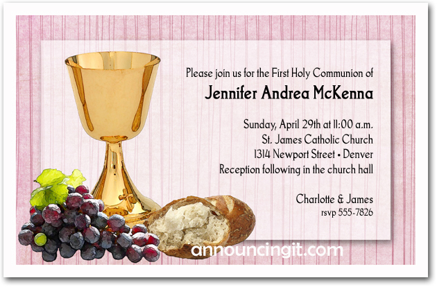 Chalice, Bread and Grapes Girl's First Communion, Baptism Invitations