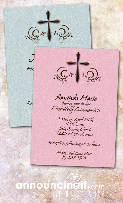 Brown Holy Cross First Communion Invitations