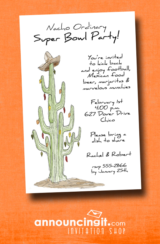 Cactus Southwest Super Bowl Party Invitations