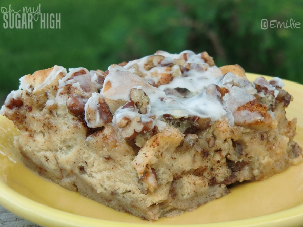 This yummy cinnamon roll bake starts with refrigerated cinnamon rolls ...