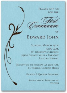 Flourish Boys First Communion Invitation