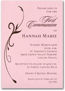 Flourish on Pink Girl Christening Invitation