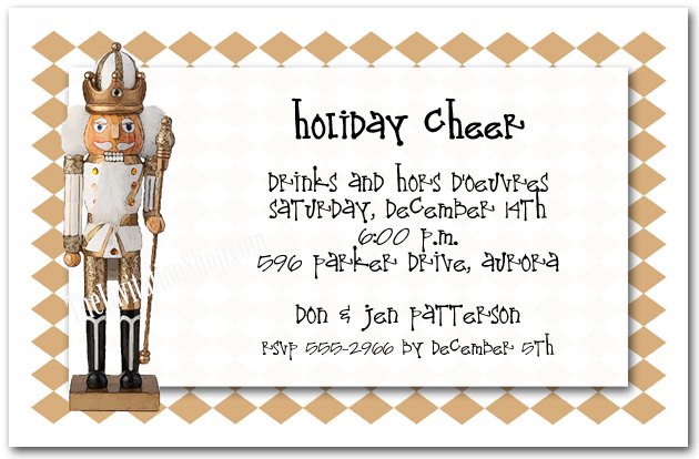 Golden Nutcracker Holiday Party Invitations