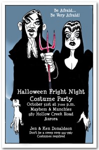 Goth Couple Halloween Costume Party Invitations