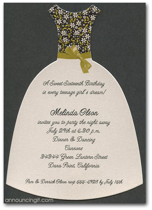Savannah Diecut Party Dress Invitations